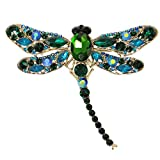 EVER FAITH Dragonfly Teardrop Brooch Pin Austrian Crystal