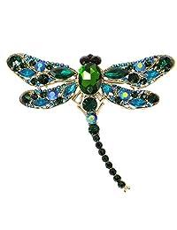 Ever Faith Dragonfly Teardrop Pendant Brooch Austrian Crystal
