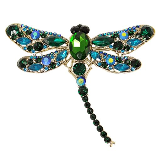 Austrian Crystal Dragonfly Pin - EVER FAITH Dragonfly Gold-Tone Teardrop Brooch Pin Green Austrian Crystal