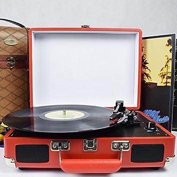 DIGITNOW! Tocadiscos estéreo de 3 velocidades con Altavoces incorporados (estéreo, 33/45/78 RPM), Rojo