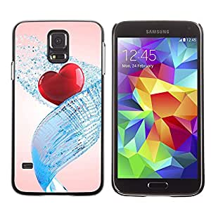Paccase / SLIM PC / Aliminium Casa Carcasa Funda Case Cover - Love Water Heart - Samsung Galaxy S5 SM-G900