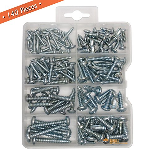 Assortment Metal (Qualihome Pan head Phillips Drive Sheet Metal Screws Assortment Kit, 140 Pieces)