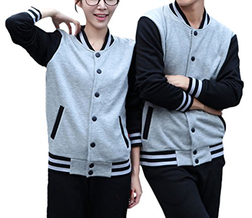 amp;Black TRENDY Couple Grey Cardigan Baseball XU Coat Raglan Jacket Leisure Unisex x4Uq1BF