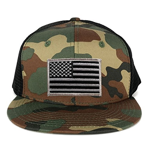 US American Flag Iron on Patch Flat Bill Camo Snapback Trucker Cap - WWB