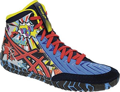ASICS Men's Aggressor 3 L.E. Comic-Hero Wrestling Shoe, Dusty Blue/True Red/Sapphire, 11.5 M US