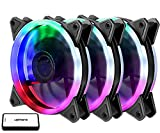 upHere 3-Pack Wireless RGB LED 120mm Case Fan,Quiet Edition High Airflow Adjustable Color LED Case Fan for PC Cases, CPU Coolers,Radiators System