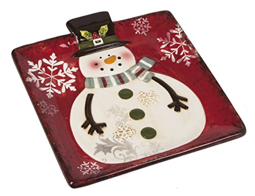 Ganz Christmas Serving Dishes - Holiday Party Platters and Soup Bowls for Festive Cookies, Snacks, Appetizers - Snowflake Snowman Dishware (7.5