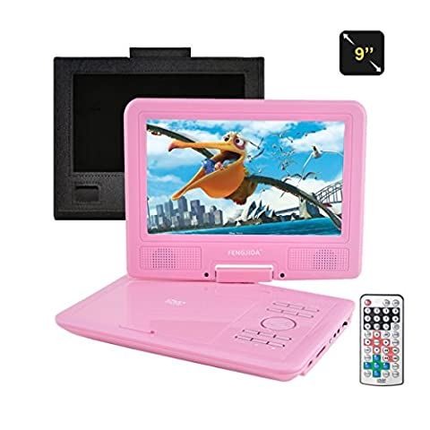 FENGJIDA 9 Inch DVD Player Portable, with 3 hour Rechargeable Battery,girl birthday present,SD Card Slot and USB Port -Pink