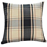 KMG Kimloog Square Decorative Throw Pillow Cover 18''x18''Plaid Tartan Linen Cotton Cushion Case For Couch Bed Car (Black)