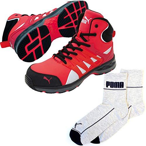 PUMA(プーマ) 安全靴 作業靴 ヴェロシティ ミッド 26.5cm レッド PUMA ソックス 靴下付セット 63.343.0  B07QM5KR8V