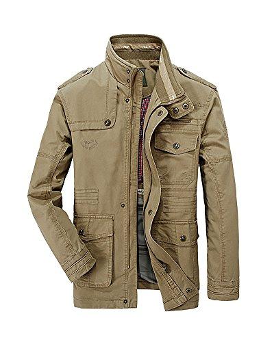 Del Giacca Solid Button Cachi Keral Casual Tasca Cappotto Zip Uomo w0UC4tq