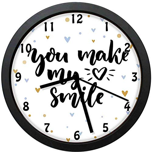 YiiHaanBuy Quote Decorative Wall Clock,You Make My He Smile Lettering with He Shapes Love Valentines Display- Silent Quartz Wall Clock,The Best Gift for Loved Ones,Friends,couples-12inch