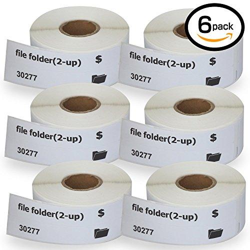 "6 Rolls Dymo 30277 Compatible 9/16"" x 3-7/16""(14mm87mm) file folder(2-up) Labels 260 Labels Per Roll"