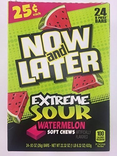 Now & Later EXTREME Sour Watermelon Soft Chews - 24 6-piece Bars by Now and Later