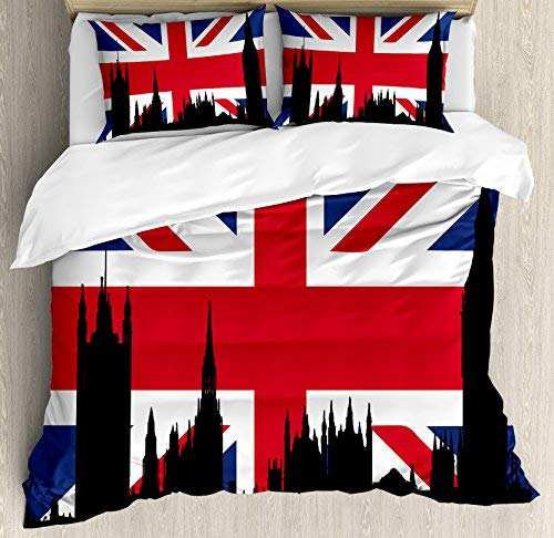 wanxinfu Union Jack 4 Piece Bedding Set Full Size, Houses of The Parliament Silhouette on UK Flag Historic Urban Skyline, 4 Pcs Duvet Cover Set Comforter Cover Bedspread with 2 Pillow Cases (Grey And Black Union Jack Bedding Sets)