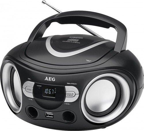 AEG SR 4374 Stereoradio mit CD inklusiv USB-Port, AUX-IN, LCD-Display schwarz