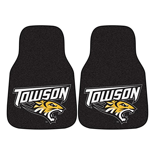 NCAA Towson University Carpet Car Mat Set (2-Pack), Small, (Fanmats Towson University)
