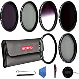 Beschoi 77mm UV Filter, CPL Filter, ND Filter Kit (ND2 + ND4 + ND8), Graduated Grey Color Filter Set, Center Pinch Lens Cap, Cap Keeper Leash, Lens Cleaning Pen, Filter Carry Pouch,Lens Cleaning Cloth