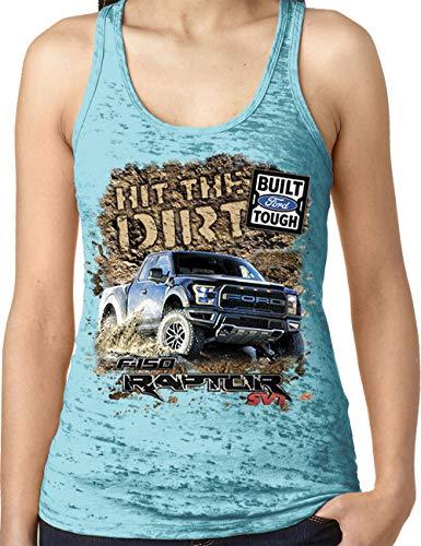 Amdesco Ladies Ford Raptor SVT F-150 Burnout Racerback Tank Top, Tahiti Blue Small ()