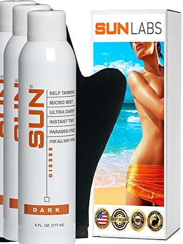 (Spray Tan Organic Self Tanner Dark 3-6 oz Cans + Tanning Mitt, At Home Airbrush Spray Tan Natural Sunless Airbrush, Body and Face for Bronzing and Golden Tan (Packaging May Very))