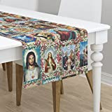 Table Runner - Fabric Religious Catholic Saints Collage Jesus Mary by Anette Teixeira - Cotton Sateen Table Runner 16 x 108