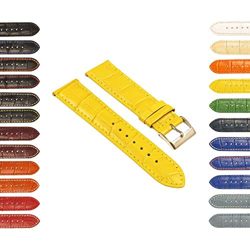 StrapsCo Crocodile Embossed Leather Watch Band - Quick Release Strap - 16mm 18mm 20mm 22mm 24mm ()