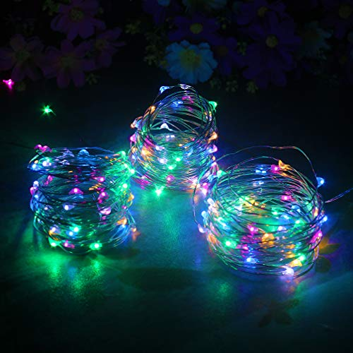 (mankinlu 3 PCS Fairy Lights Battery Operated String Light Led Moon Lights 16.5ft/5m 50 Led Multi-colored Firefly Lights Starry String Light for DIY Costume Wedding Easter Party Table Centerpiece)