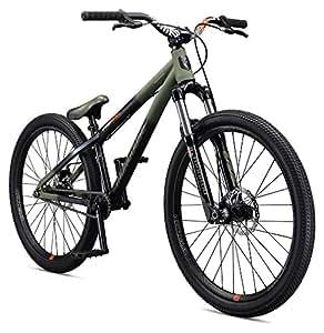 "Mongoose Fireball Single Speed 26"" Dirt Jump Bicycle, Black/Green, Medium Frame Size"