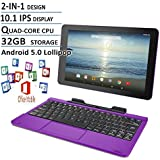 2016 Newest Premium High Performance RCA Viking Pro 10.1 2-in-1 Touchscreen Laptop Computer Tablet Quad-Core Processor 1G Memory 32GB Hard Drive Detachable-Keyboard Webcam Android 5.0 Lollipop Purple