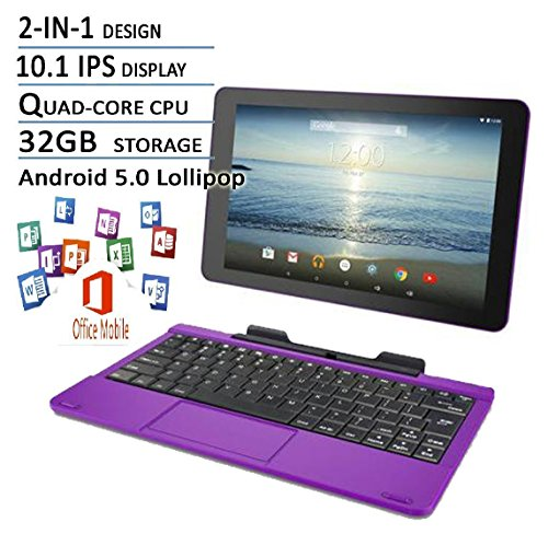"2016 Newest Premium High Performance RCA Viking Pro 10.1"" 2-in-1 Touchscreen Laptop Computer Tablet Quad-Core Processor 1G Memory 32GB Hard Drive Detachable-Keyboard Webcam Android 5.0 Lollipop Purple"