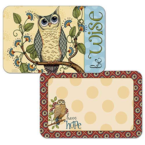 Counterart Reversible Set of 4 Wipe-Clean Decofoam Placemats - Wise Owl