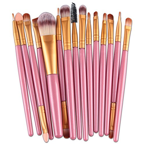AOOK 15 Pieces Animal Makeup Brush Set Professional Face Eye Shadow Eyeliner Foundation Blush Lip Makeup Brushes Powder Liquid Cream Cosmetics Blending Brush