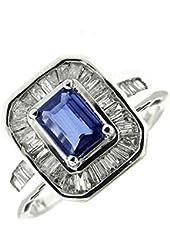 1.60 Ct White Gold Sapphire & Diamond Ladies Ring 14 Kt