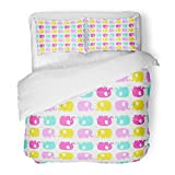 SanChic Duvet Cover Set Cute Flat Elephant with Fun Color Silhouette Sweet for Babies and Children Bright Animals Yellow Pink Decorative Bedding Set with 2 Pillow Shams Full/Queen Size