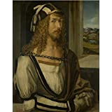 Perfect effect Canvas ,the Beautiful Art Decorative Canvas Prints of oil painting 'Self Portrait with Gloves, 1498 By Albrecht Durer', 24x31 inch / 61x78 cm is best for Kitchen decor and Home decoration and Gifts
