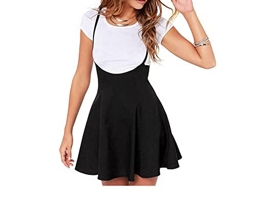 41dc386481 Women Teen Girls Fashion High Waist Mini Suspender Skater Skirts Flared  Pleated Dresses