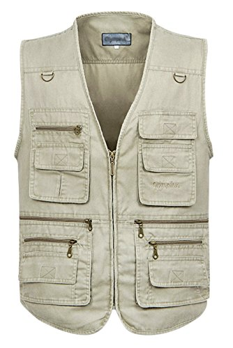 Gihuo Men's Casual Outdoor Leisure Lightweight Pockets Fishing Photo Journalist Hunting Vest Plus Size (X-L, Beige)