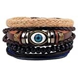Victoria Echo Multilayer Braided Leather Beads Strand Mysterious Evil Eye Charm Wrap Cuff Bracelet