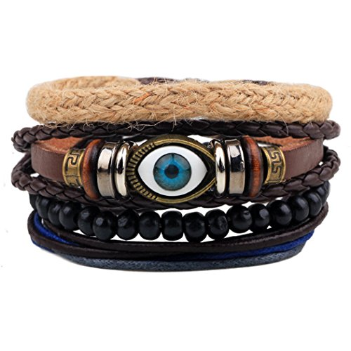 [Victoria Echo Multilayer Braided Leather Beads Strand Mysterious Evil Eye Charm Wrap Cuff Bracelet] (Cute Dog Costumes Uk)