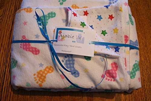 Pocket-2in1-Sheet Baby Toes with Stars Flannel 2 in 1 Patented No Slip Reversible Pack n Play Play Yard Fitted Sheet Cover or Day Care Mini Crib Mattress Sheet