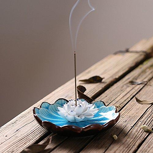Incense Holder - Porcelain Decorative Flower Incense Stick Holder Burner Bowl - Ceramic Incense Ash Catcher Tray (Light Blue) - incensecentral.us