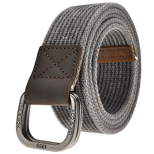 WJINERMen's Double D-Ring Canvas Belt Genuine Leather Trimming Casual (Ladie D-ring Belt)