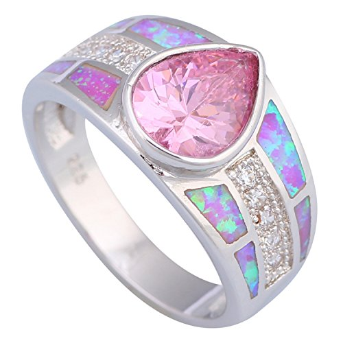 Slyq Jewelry Fashion women's Ring Pink Topaz Pink Fire Opal 925 stamp silver jewelry Ring size 6 7 8 9 R491