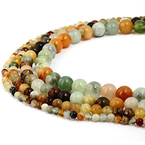 RUBYCA Natural Multi Color Jade Gemstone Round Loose Beads for DIY Jewelry Making 1 Strand - (Multi Coloured Gemstone Earrings)