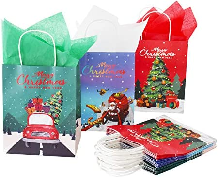 Christmas Bags with Christmas Tree, Gift Bag Snowman Design Serve 15PCS in 3 Styles for Christmas Party Decoration