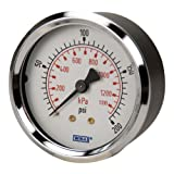 WIKA 4253281 Commercial Pressure Gauge, Dry-Filled, Copper Alloy Wetted Parts, 2