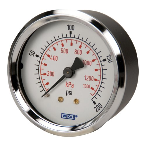 Gauge Wika - WIKA 4302061 Commercial Pressure Gauge, Dry-Filled, Copper Alloy Wetted Parts, 2