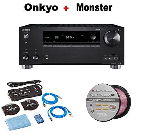 Onkyo Rz Series Audio & Video Component Receiver Black (TX-RZ720) + Monster Home Theater Accessory Bundle + Monster - Platinum XP 50' Compact Speaker Cable Bundle by Onkyo