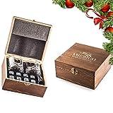 Impressive Whiskey Stones Gift Set with 2 Glasses - Be Different When Choosing a Gift - Luxury Handmade Box with 8 Granite Whisky Rocks & Velvet Bag - Ice Cubes Reusable - Best Man Gift
