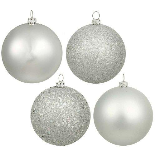 -Finish Ornament Set, Includes 96 Per Box, 1.6-Inch, Silver (Silver Matte Ornaments)